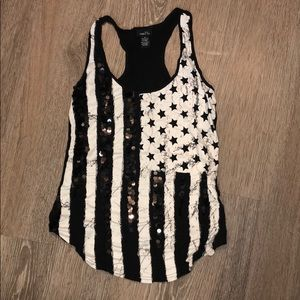 Black and White Flag - Fourth of July - Tank Top